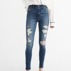 A&F Simone high rise skinny distressed jeans